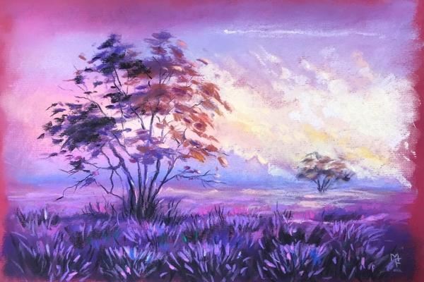 Мастер-класс по пастели «Лавандовое поле»
