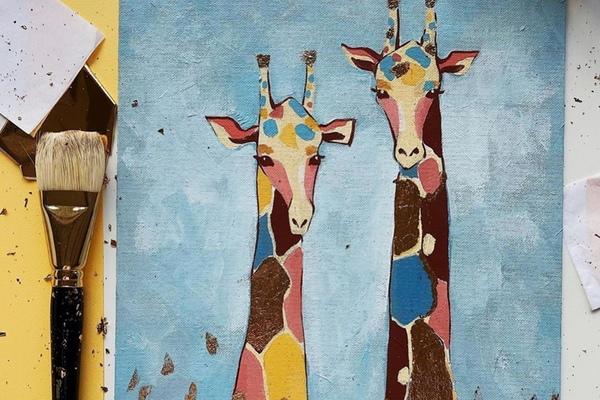 Мастер-класс по акрилу «Жирафы»