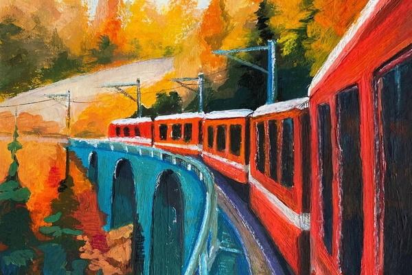 Поезд в осеннем лесу